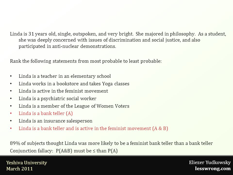 Eliezer Yudkowsky lesswrong.com Yeshiva University March 2011 Linda is 31 years old, single, outspoken, and very bright. She majored in philosophy. As