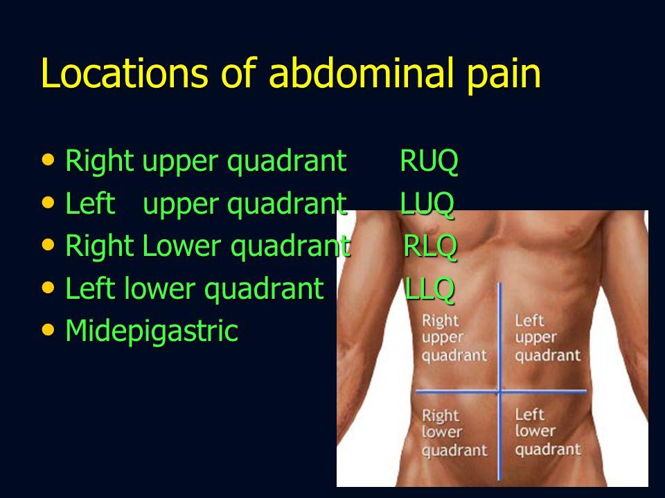 Locations of abdominal pain Right upper quadrant RUQ Right upper quadrant RUQ Left upper quadrant LUQ Left upper quadrant LUQ Right Lower quadrant RLQ