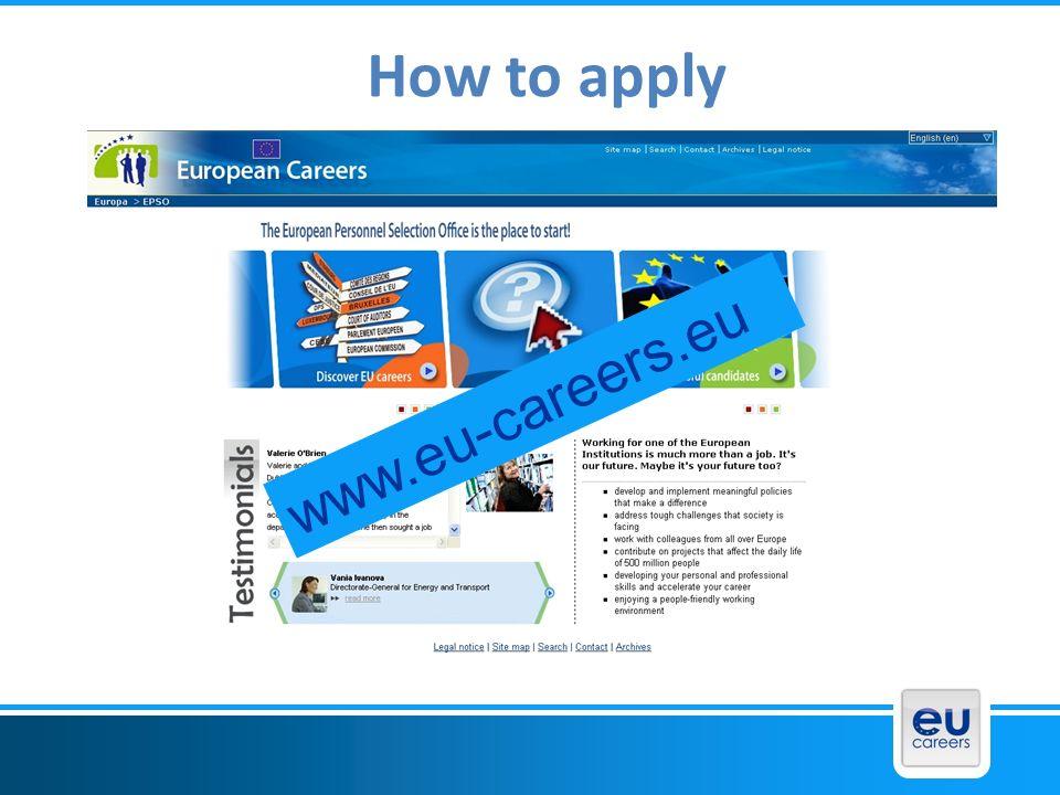 How to apply www.eu-careers.eu