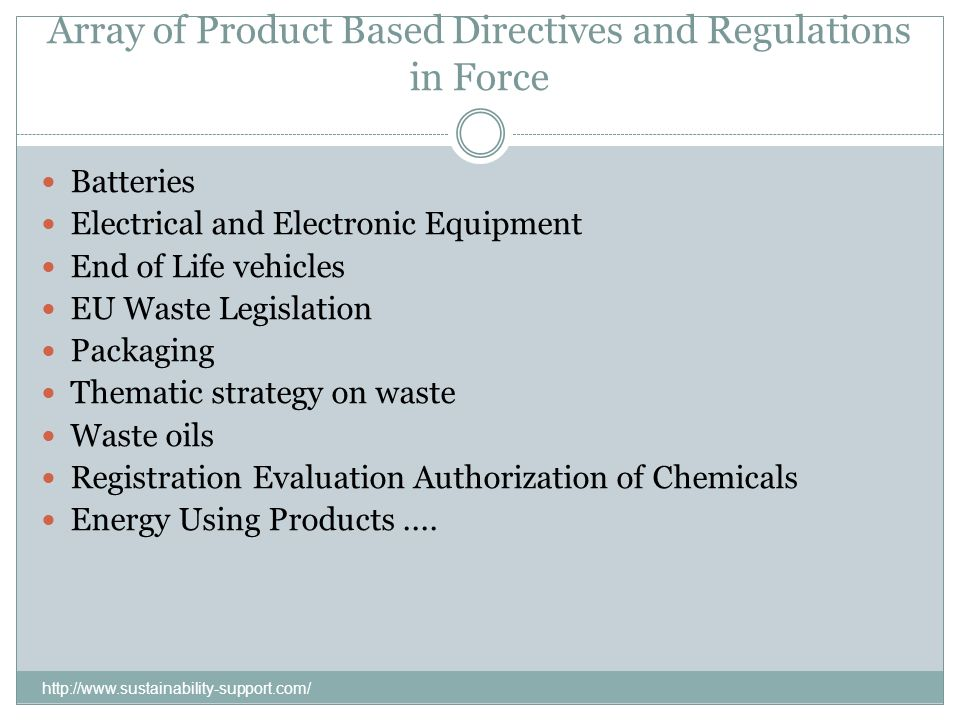 Array of Product Based Directives and Regulations in Force Batteries Electrical and Electronic Equipment End of Life vehicles EU Waste Legislation Pac