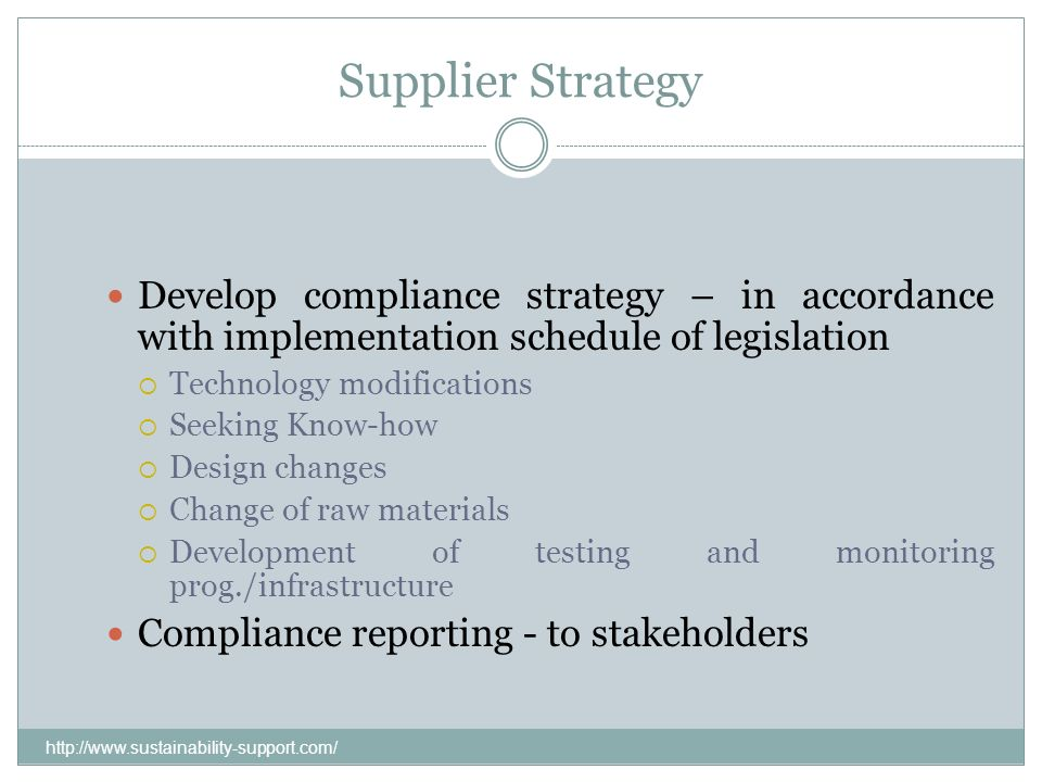 Supplier Strategy Develop compliance strategy – in accordance with implementation schedule of legislation Technology modifications Seeking Know-how De