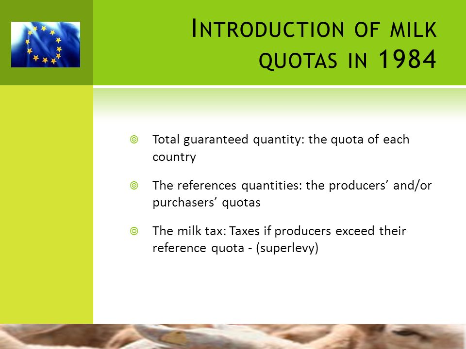 I NTRODUCTION OF MILK QUOTAS IN 1984 Total guaranteed quantity: the quota of each country The references quantities: the producers and/or purchasers q