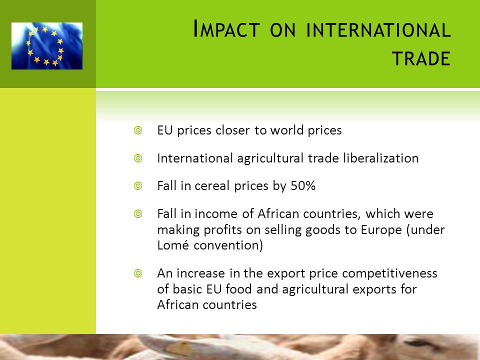 I MPACT ON INTERNATIONAL TRADE EU prices closer to world prices International agricultural trade liberalization Fall in cereal prices by 50% Fall in i