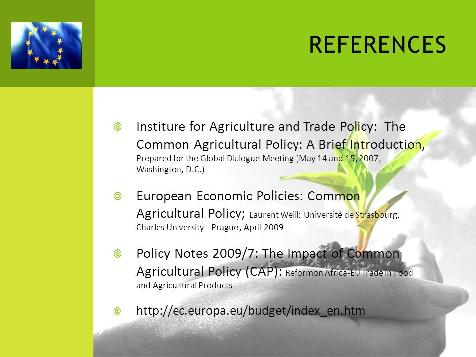 REFERENCES Institure for Agriculture and Trade Policy: The Common Agricultural Policy: A Brief Introduction, Prepared for the Global Dialogue Meeting