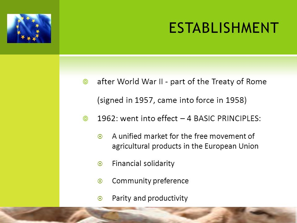 ESTABLISHMENT after World War II - part of the Treaty of Rome (signed in 1957, came into force in 1958) 1962: went into effect – 4 BASIC PRINCIPLES: A