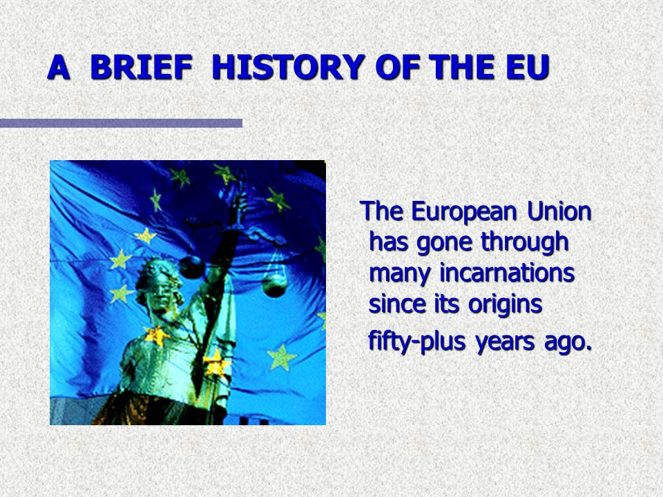 A BRIEF HISTORY OF THE EU The European Union has gone through many incarnations since its origins fifty-plus years ago.