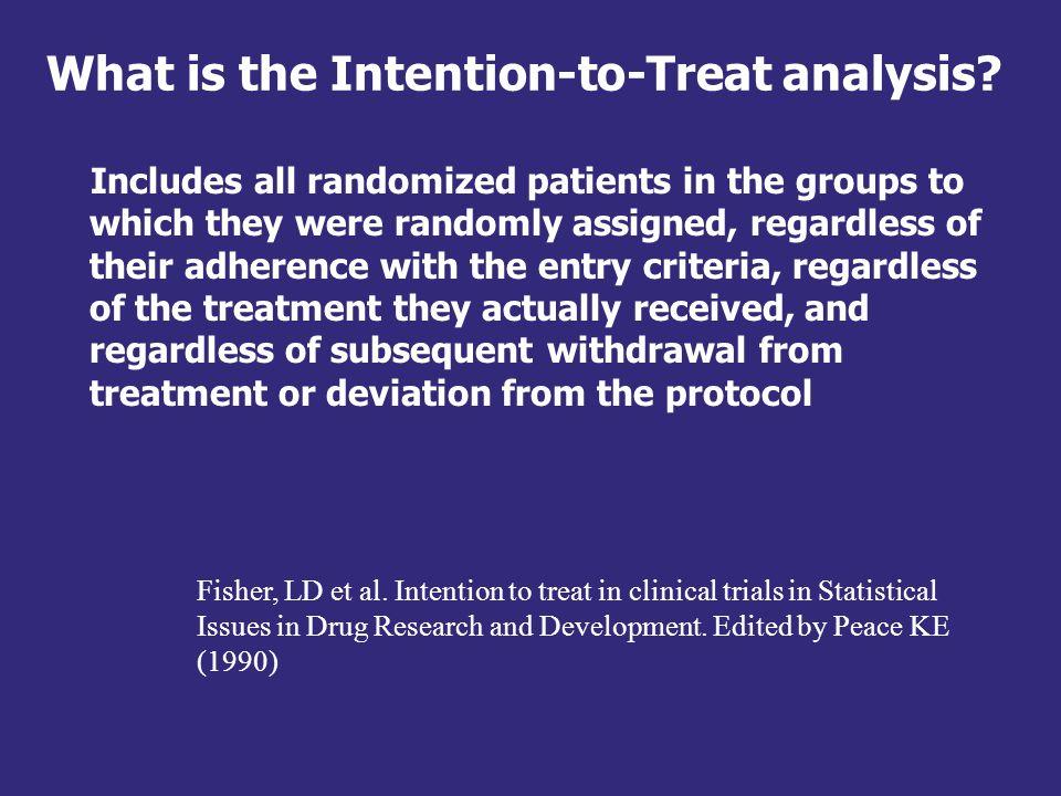 Intention-to-treat analysis Full analysis set.Analyze once randomized.