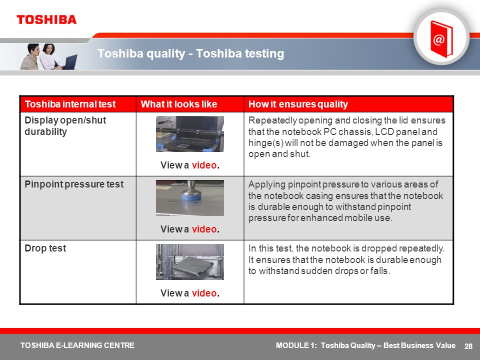 28 TOSHIBA E-LEARNING CENTREMODULE 1: Toshiba Quality – Best Business Value Toshiba quality - Toshiba testing Toshiba internal testWhat it looks likeH