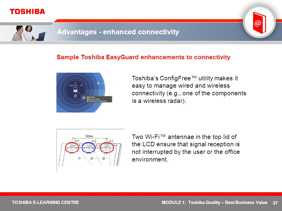 37 TOSHIBA E-LEARNING CENTREMODULE 1: Toshiba Quality – Best Business Value Advantages - enhanced connectivity Sample Toshiba EasyGuard enhancements t