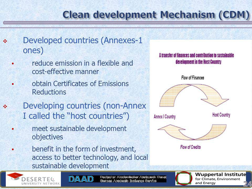24 Developed countries (Annexes-1 ones) reduce emission in a flexible and cost-effective manner obtain Certificates of Emissions Reductions Developing