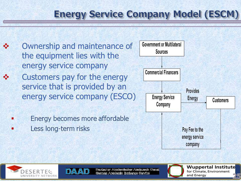Ownership and maintenance of the equipment lies with the energy service company Customers pay for the energy service that is provided by an energy ser
