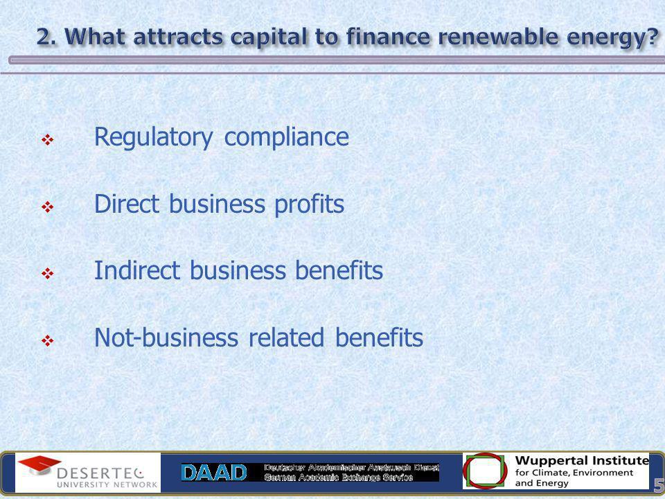 Regulatory compliance Direct business profits Indirect business benefits Not-business related benefits 5