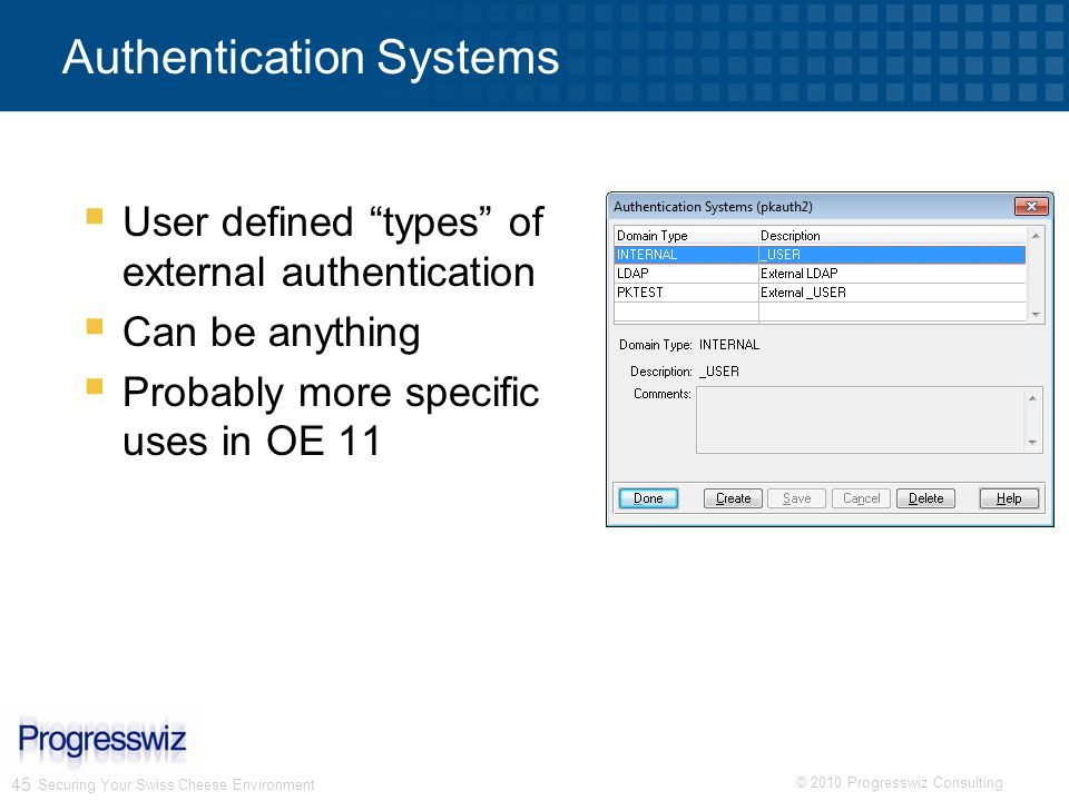 © 2010 Progresswiz Consulting 45 Authentication Systems Securing Your Swiss Cheese Environment User defined types of external authentication Can be an