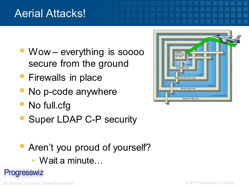 © 2010 Progresswiz Consulting 59 Aerial Attacks! Wow – everything is soooo secure from the ground Firewalls in place No p-code anywhere No full.cfg Su
