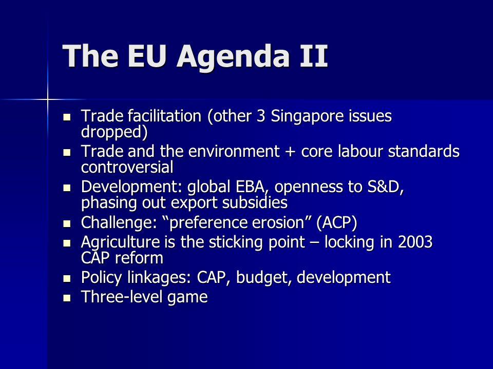 The EU Agenda II Trade facilitation (other 3 Singapore issues dropped) Trade facilitation (other 3 Singapore issues dropped) Trade and the environment