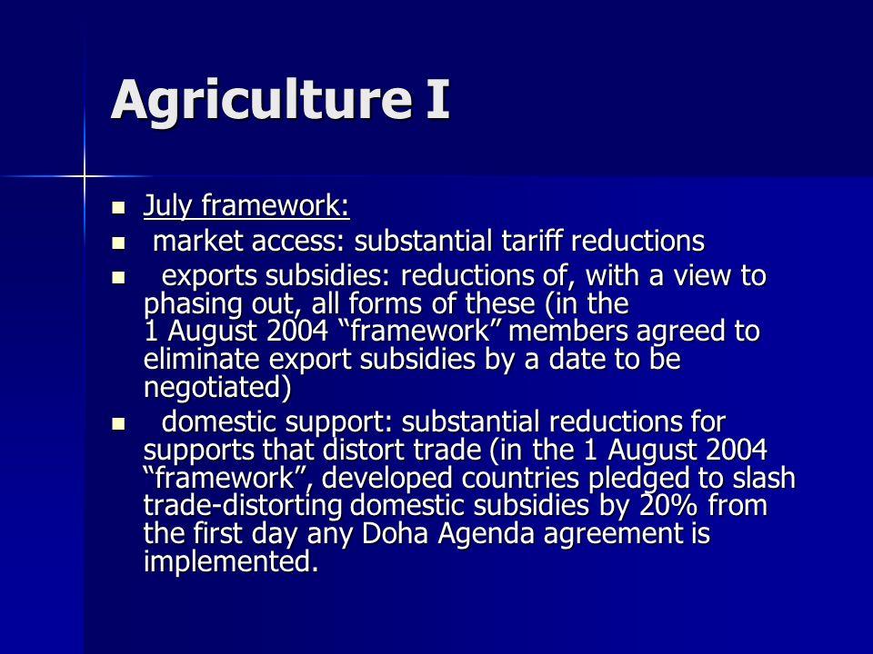 Agriculture I July framework: July framework: market access: substantial tariff reductions market access: substantial tariff reductions exports subsid