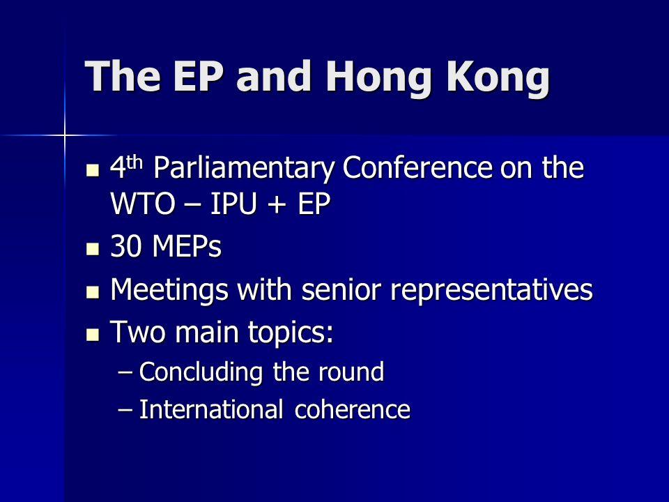 The EP and Hong Kong 4 th Parliamentary Conference on the WTO – IPU + EP 4 th Parliamentary Conference on the WTO – IPU + EP 30 MEPs 30 MEPs Meetings