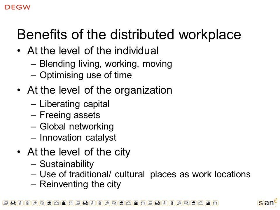 Benefits of the distributed workplace At the level of the individual –Blending living, working, moving –Optimising use of time At the level of the organization –Liberating capital –Freeing assets –Global networking –Innovation catalyst At the level of the city –Sustainability –Use of traditional/ cultural places as work locations –Reinventing the city