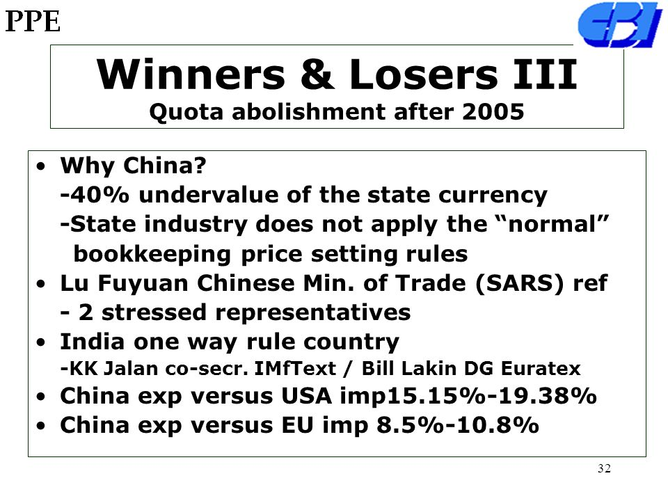 31 Winners & Losers II Quota abolishment after 2005 Champion Winner is China India-Pakistan (vice champions) Losers Bangladesh-Indonesia-Thailand- Vietnam-Mexico-Turkey-Tunisia- Morocco 1,7 mlln jobs in Bangladesh 850,000 job losses (80% females) Gherzi Swiss consult