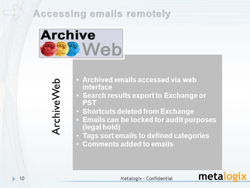 Metalogix - Confidential10 ArchiveWeb Archived emails accessed via web interface Search results export to Exchange or PST Shortcuts deleted from Excha