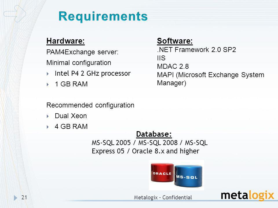 Metalogix - Confidential21 Hardware: PAM4Exchange server: Minimal configuration Intel P4 2 GHz processor 1 GB RAM Recommended configuration Dual Xeon