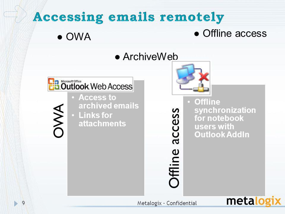9 OWA ArchiveWeb Offline access OWA Access to archived emails Links for attachments Offline access Offline synchronization for notebook users with Out