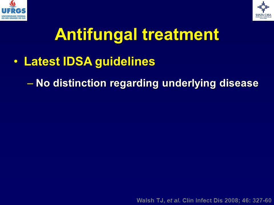 Antifungal treatment Latest IDSA guidelinesLatest IDSA guidelines –No distinction regarding underlying disease Walsh TJ, et al. Clin Infect Dis 2008;