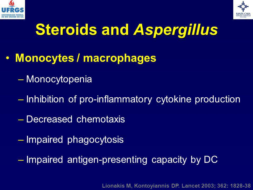Steroids and Aspergillus Monocytes / macrophages –Monocytopenia –Inhibition of pro-inflammatory cytokine production –Decreased chemotaxis –Impaired ph
