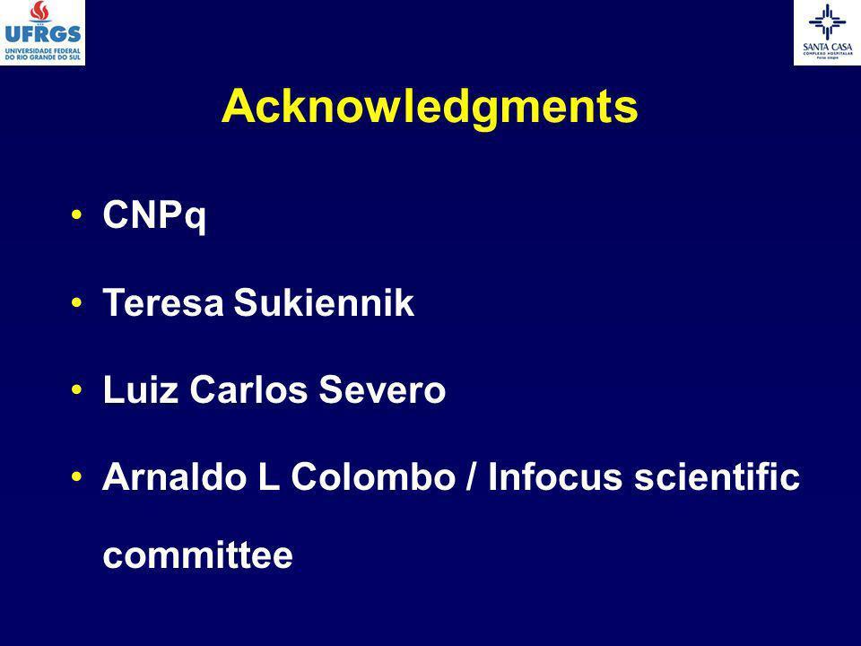 Acknowledgments CNPq Teresa Sukiennik Luiz Carlos Severo Arnaldo L Colombo / Infocus scientific committee