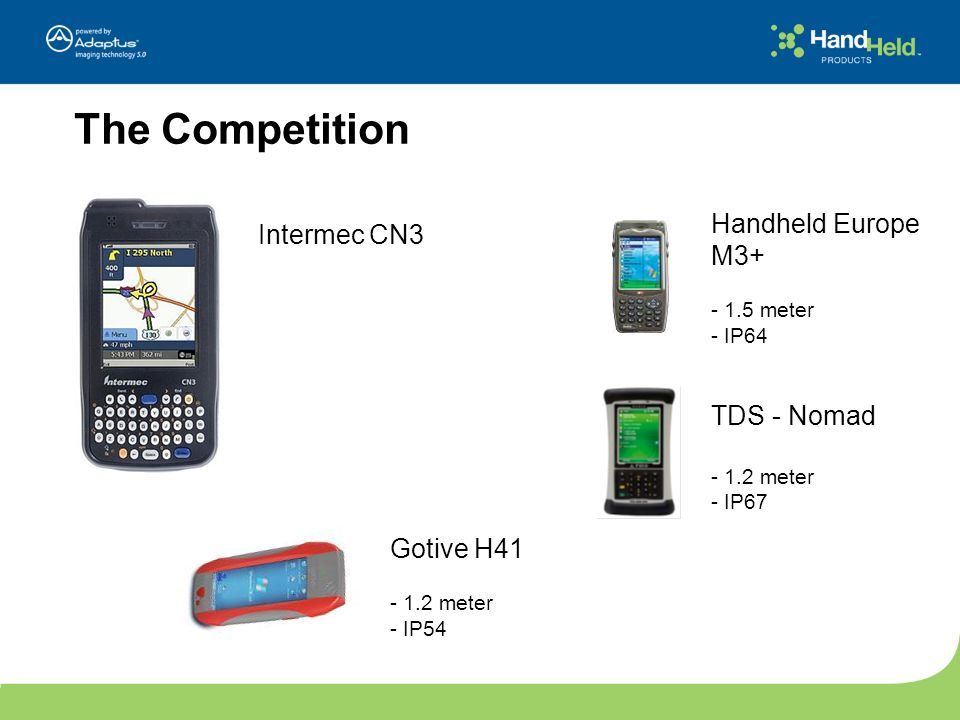 The Competition Intermec CN3 Gotive H41 - 1.2 meter - IP54 Handheld Europe M3+ - 1.5 meter - IP64 TDS - Nomad - 1.2 meter - IP67