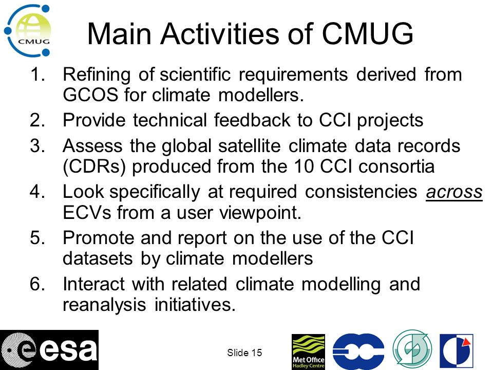 Slide 16 Main Activities of CMUG 1.Refining of scientific requirements derived from GCOS for climate modellers.