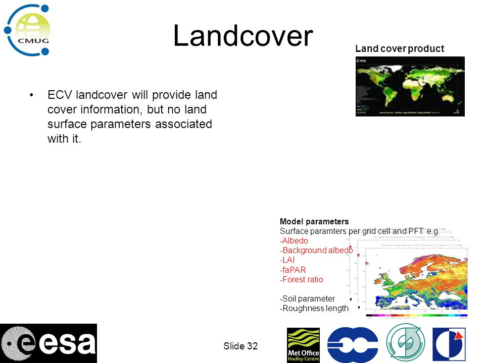 Slide 33 Landcover ECV landcover will provide land cover information, but no land surface parameters associated with it.