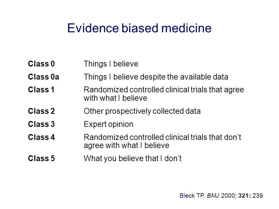 Evidence biased medicine Class 0Things I believe Class 0aThings I believe despite the available data Class 1Randomized controlled clinical trials that