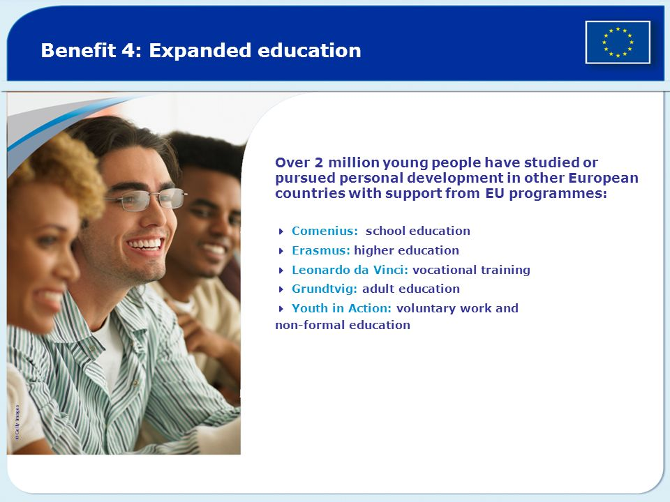 Benefit 4: Expanded education Over 2 million young people have studied or pursued personal development in other European countries with support from E