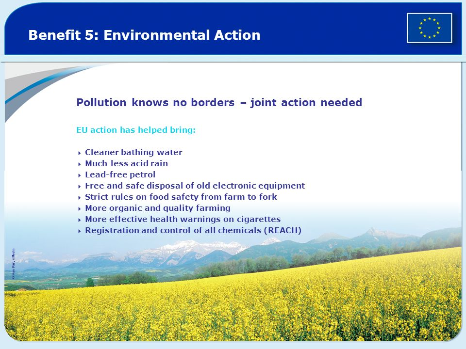 Benefit 5: Environmental Action Pollution knows no borders – joint action needed EU action has helped bring: Cleaner bathing water Much less acid rain