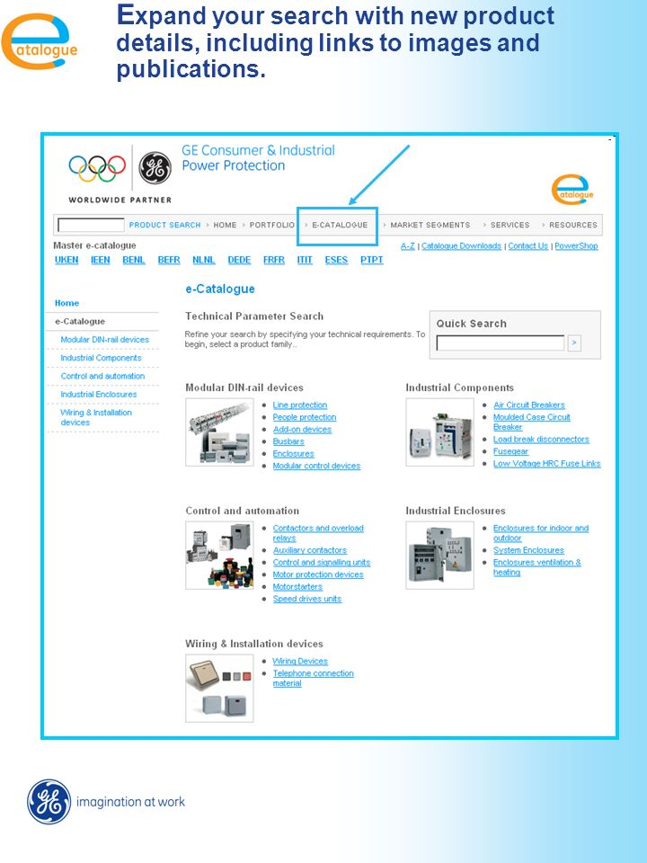 Access to E-catalogue from the Portfolio pages. Direct link to the correct e-cat page