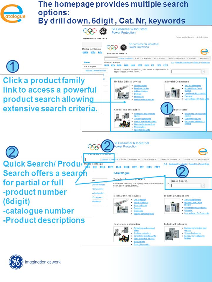 Click a product family link to access a powerful product search allowing extensive search criteria.