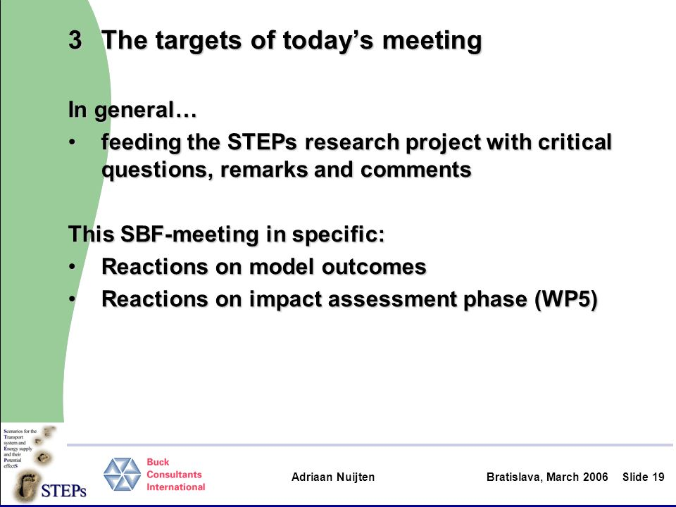 Adriaan Nuijten Bratislava, March 2006Slide 19 3The targets of todays meeting In general… feeding the STEPs research project with critical questions,