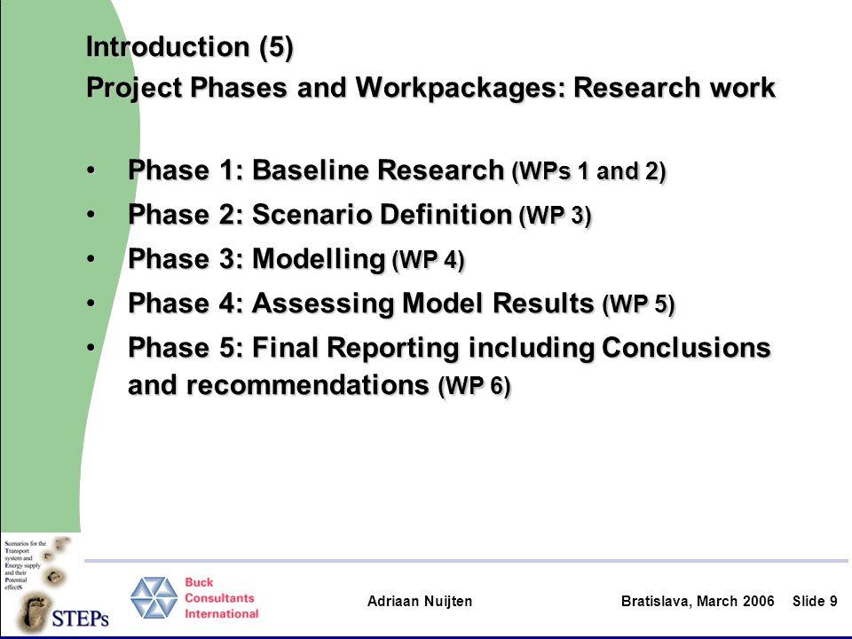 Adriaan Nuijten Bratislava, March 2006Slide 20 To be presented in detail / discussed… Model outcomes: scenario impacts (WP 4)Model outcomes: scenario impacts (WP 4) –Mr Angelo Martino / Davide Fiorello (TRT) Evaluation and assessment (WP5)Evaluation and assessment (WP5) –Prof.