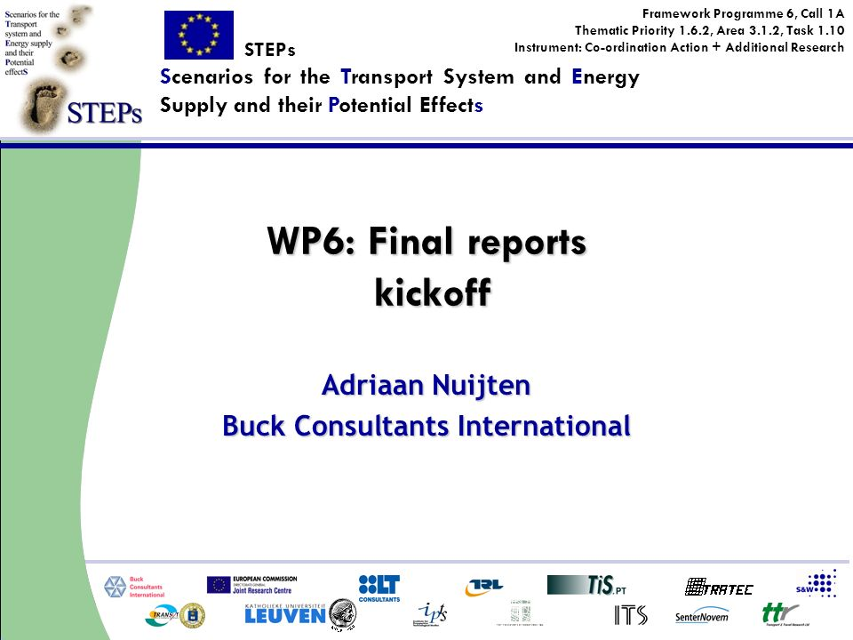Framework Programme 6, Call 1A Thematic Priority 1.6.2, Area 3.1.2, Task 1.10 Instrument: Co-ordination Action + Additional Research STEPs Scenarios for the Transport System and Energy Supply and their Potential Effects WP6: Final reports kickoff Adriaan Nuijten Buck Consultants International