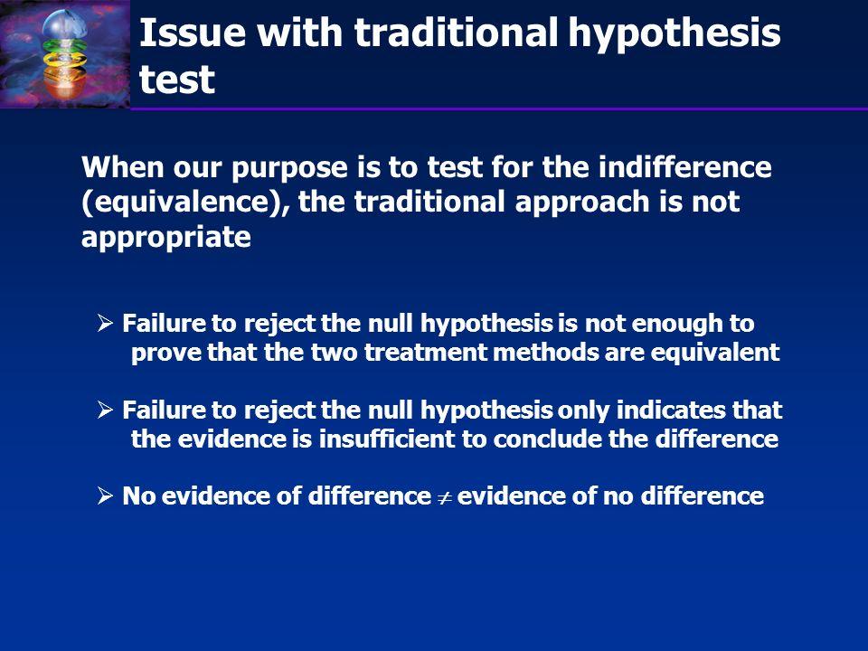 Bioequivalence test Test for equivalence (indifference): H 0 : T - R L or T - R U H A : L < T - R < U Two one-sided test procedure: H 01 : T - R L H A1 : T - R > L and H 02 : T - R U H A2 : T - R < U
