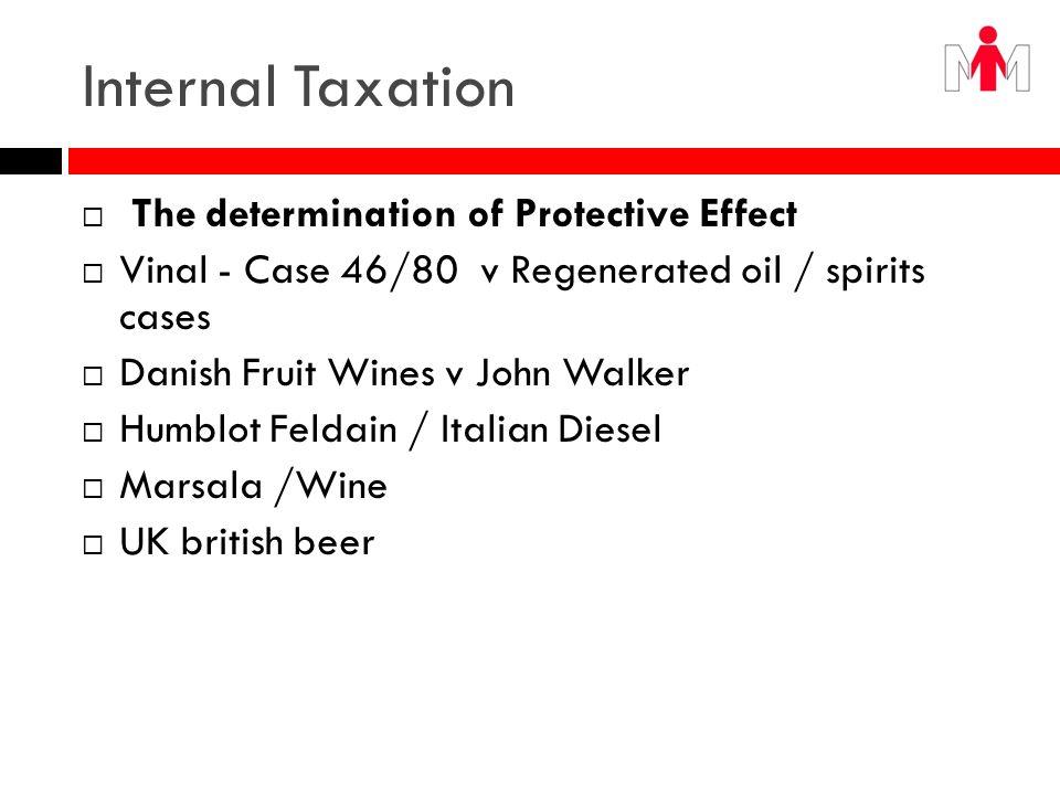 Internal Taxation The determination of Protective Effect Vinal - Case 46/80 v Regenerated oil / spirits cases Danish Fruit Wines v John Walker Humblot