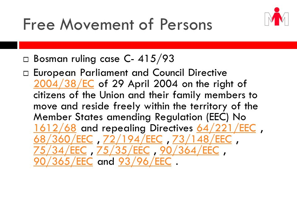 Free Movement of Services Article 49 EC Within the framework of the provisions set out below, restrictions on freedom to provide services within the Community shall be prohibited in respect of nationals of Member States who are established in a State of the Community other than that of the person for whom the services are intended.