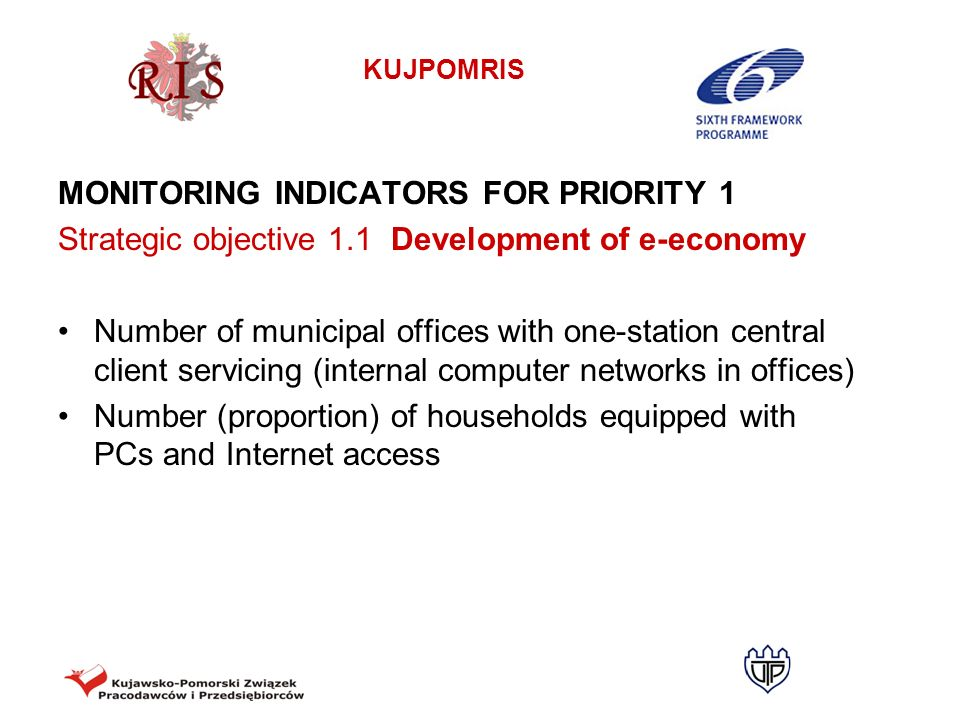 KUJPOMRIS MONITORING INDICATORS FOR PRIORITY 1 Strategic objective 1.1 Development of e-economy Number of municipal offices with one-station central c