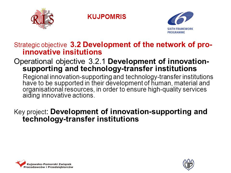 KUJPOMRIS Strategic objective 3.2 Development of the network of pro- innovative insitutions Operational objective 3.2.1 Development of innovation- sup