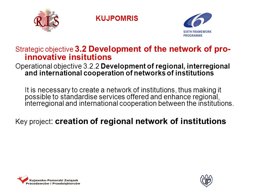 KUJPOMRIS Strategic objective 3.2 Development of the network of pro- innovative insitutions Operational objective 3.2.2 Development of regional, inter