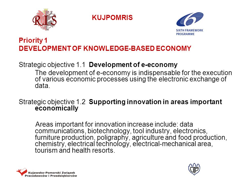 KUJPOMRIS MONITORING INDICATORS FOR PRIORITY 2 Strategic objective 2.2: Close cooperation of the research- development sector and companies concerning the creation of market offers Proportion of innovative companies in the total number of companies employing more than 9 people Number of industrial companies which introduced intellectual property protection Number of spin-off companies Number of companies taking part in EU framework programmes Number of industrial design centres offering services for entrepreneurs