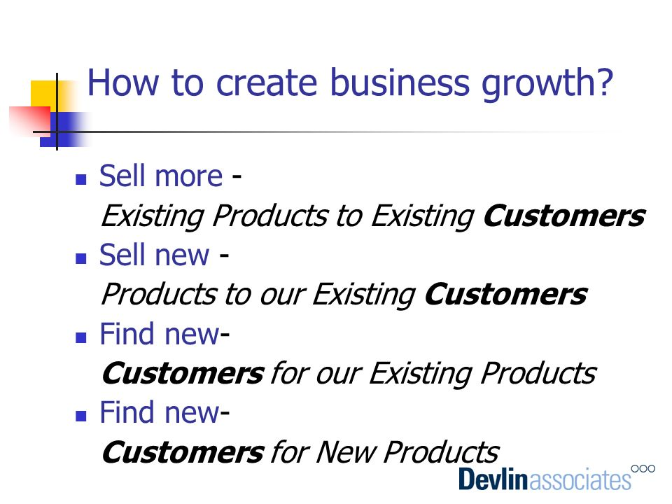 How to create business growth? Sell more - Existing Products to Existing Customers Sell new - Products to our Existing Customers Find new- Customers f