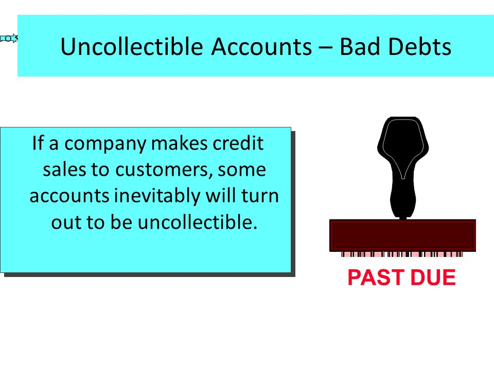 Uncollectible Accounts – Bad Debts If a company makes credit sales to customers, some accounts inevitably will turn out to be uncollectible. PAST DUE