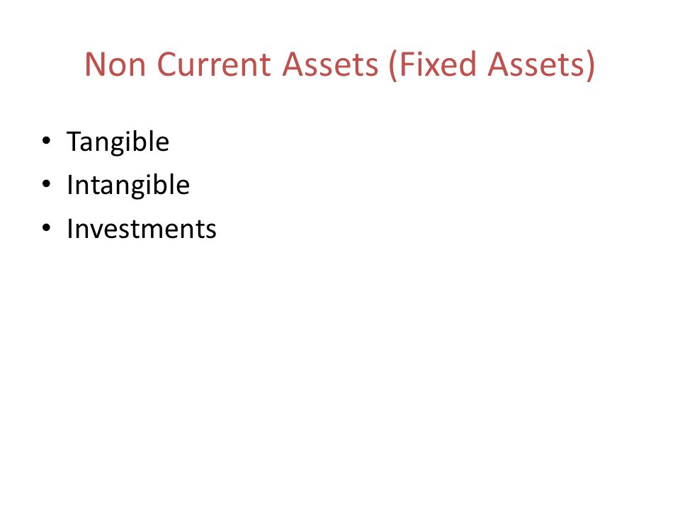 Non Current Assets (Fixed Assets) Tangible Intangible Investments